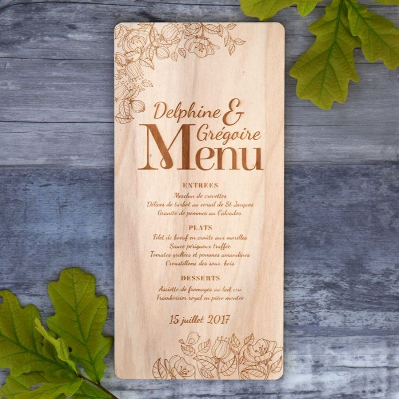 Menu de mariage sur bois - Floral Art Nouveau