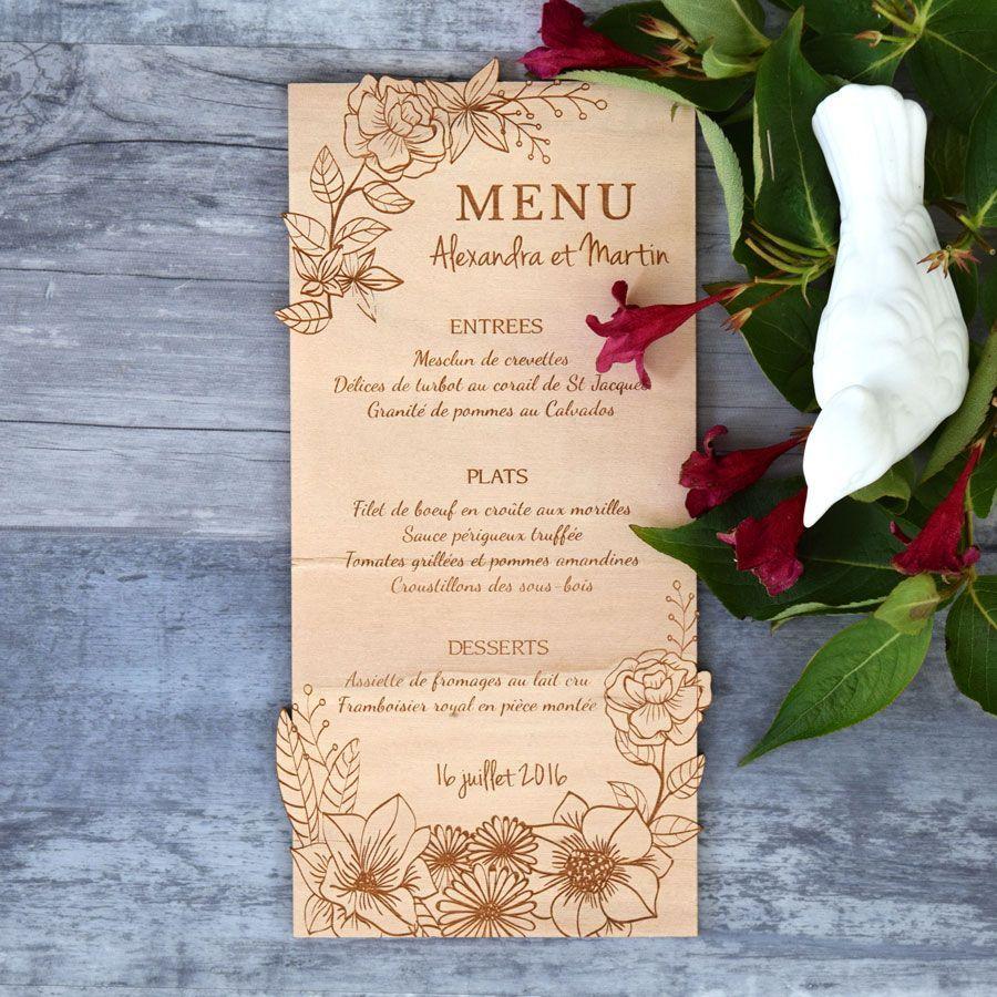 menu de mariage sur bois couronne de fleurs. Black Bedroom Furniture Sets. Home Design Ideas