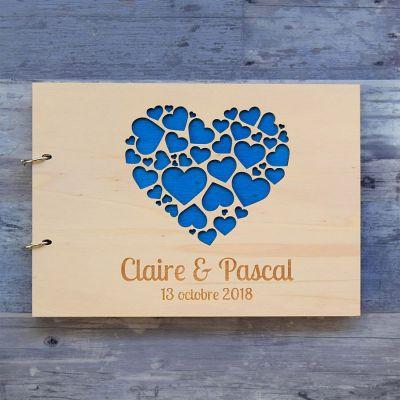 Livre d'or de mariage sur bois - Coeurs