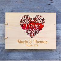 Livre d'or de mariage sur bois - Love