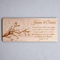 Faire-part de mariage printemps avec fleurs et arbre