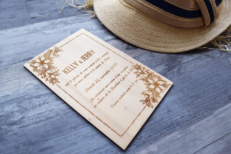 faire part de mariage en bois sur le theme champetre