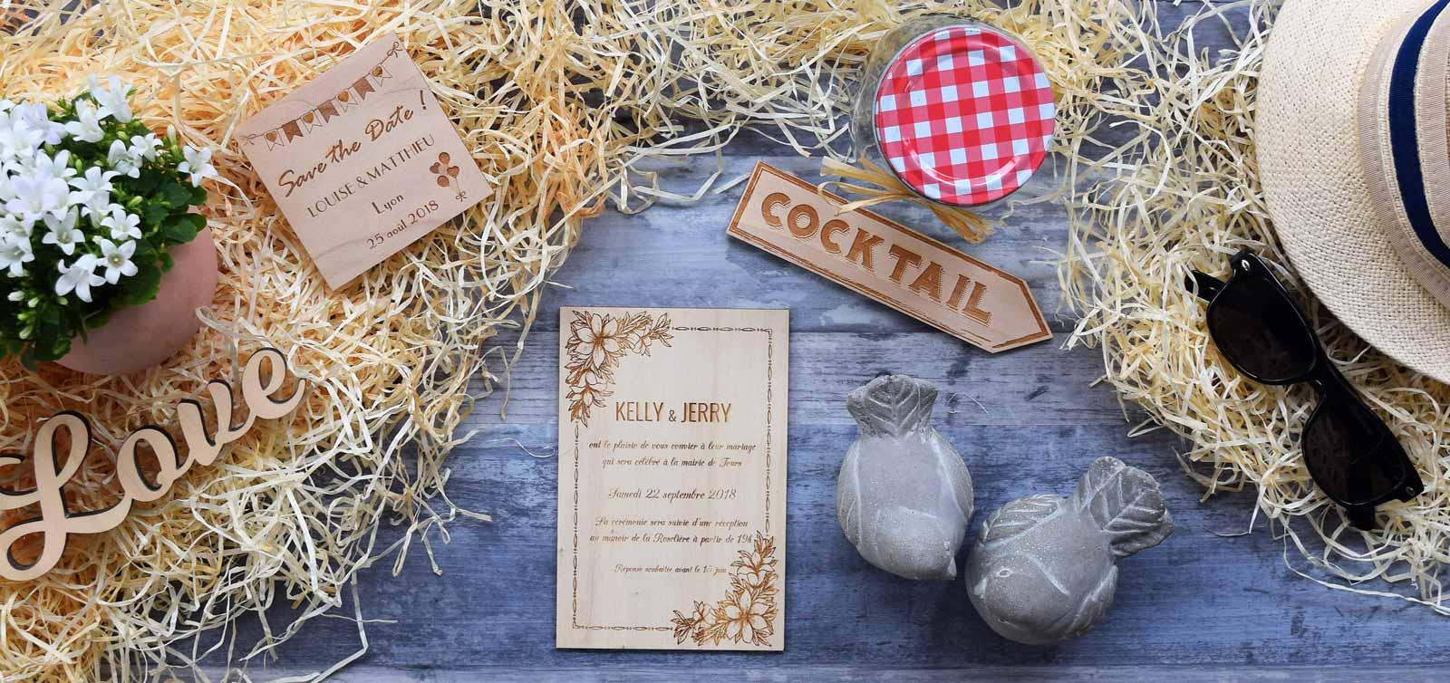 Faire part de mariage grave sur bois dans le style champetre chic