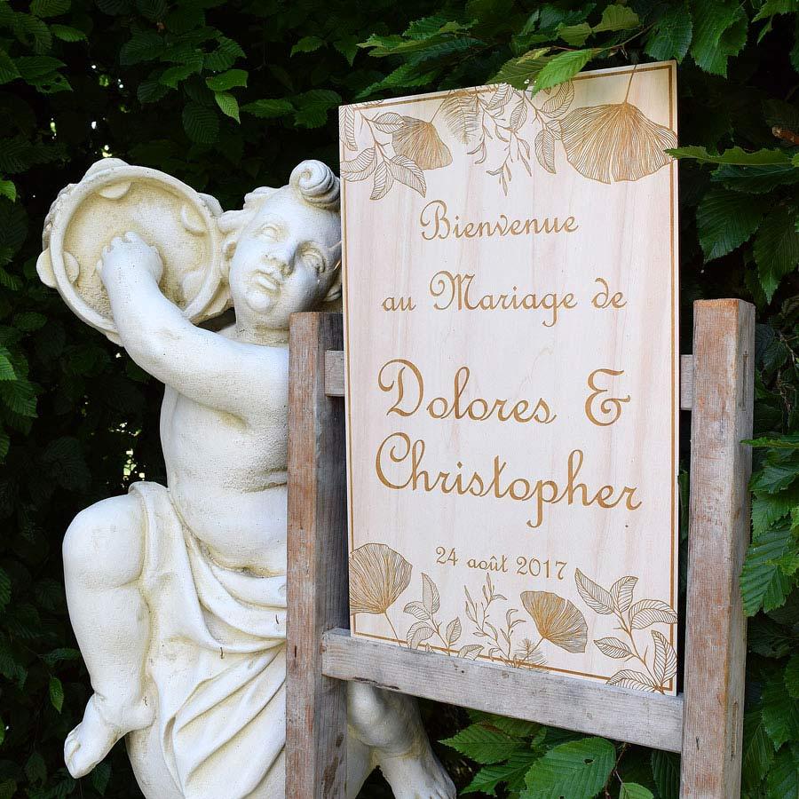 pancarte et panneau mariage de bienvenue en bois